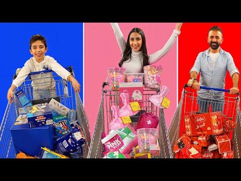 معك 3 دقائق تشتري اي شيء ب لون واحد 🟥🌸🟦 - Talin tube family - عائلة تالين تيوب