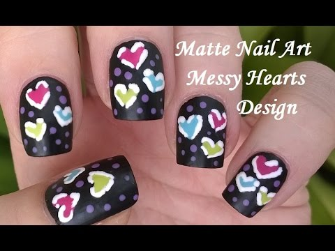 Black Matte Nail Polish Designs 6 Dotting Tool Toothpick Heart