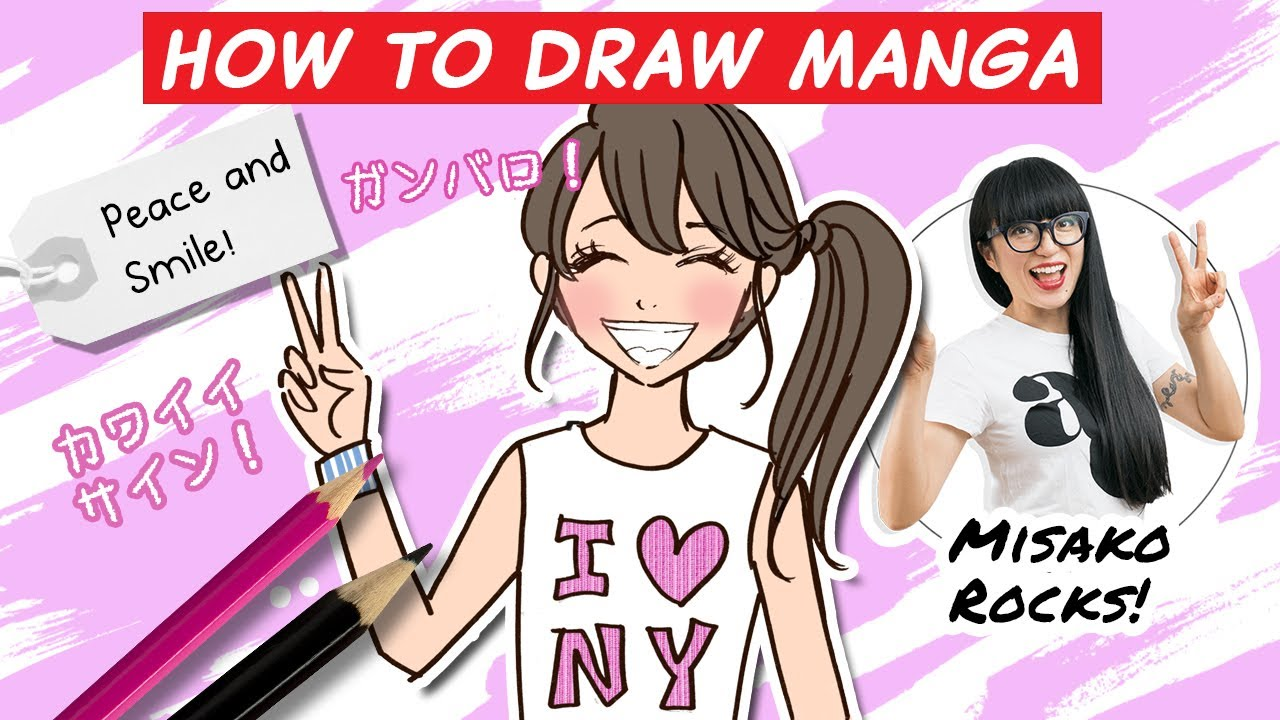 How To Draw A Kawaii Girl With A Peace Sign Step By Step Youtube