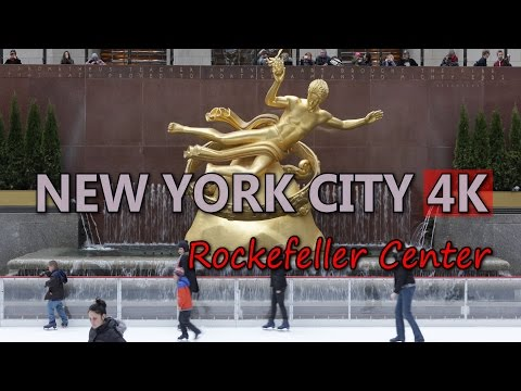 Ultra HD 4K New York City Rockefeller Center Travel Ice Skating Rink People UHD Video Stock Footage