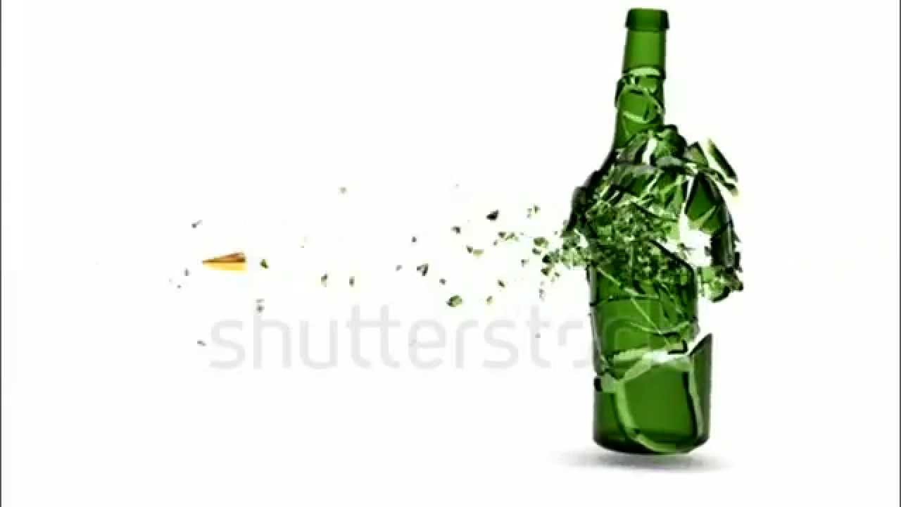 Shattered Green Beer Bottle By Bullet In Slow Motion With -1691