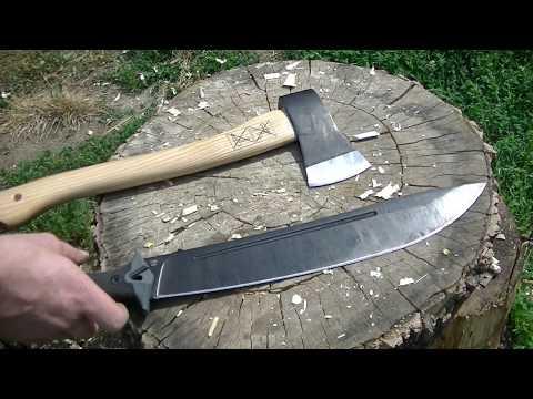 Топор Hultafors VS Мачете Kershaw Camp 14 тесты тяжелых рубящих инструментов