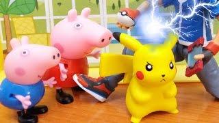 Pokemon Pikachu llega a casa de Peppa Pig | Pokemon go | Juguetes de Peppa Pig