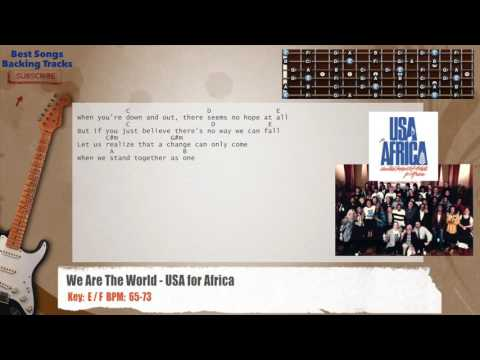 We Are The World - USA for Africa Guitar Backing Track with chords and lyrics