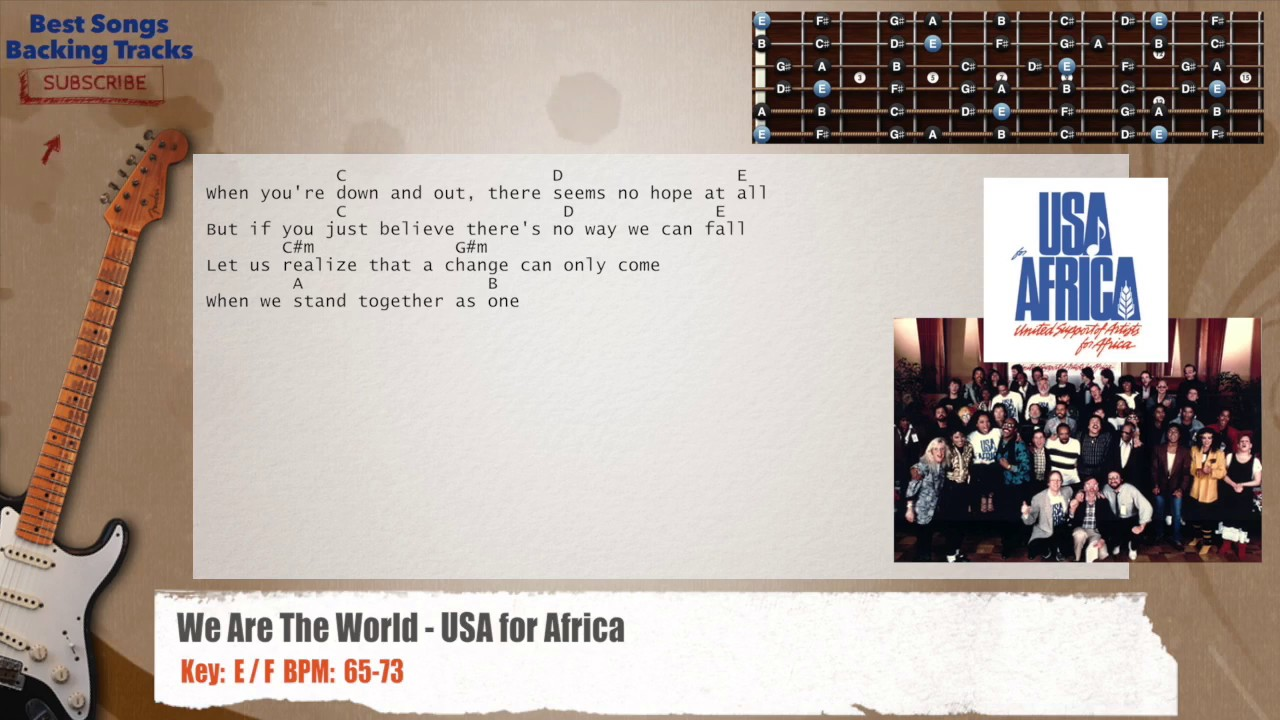 We Are The World Usa For Africa Guitar Backing Track With Chords