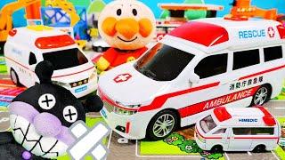 アンパンマン おもちゃ アニメ ばいきんまんがかけっこで救急車で運ばれる!? 救急車しゅつどう!