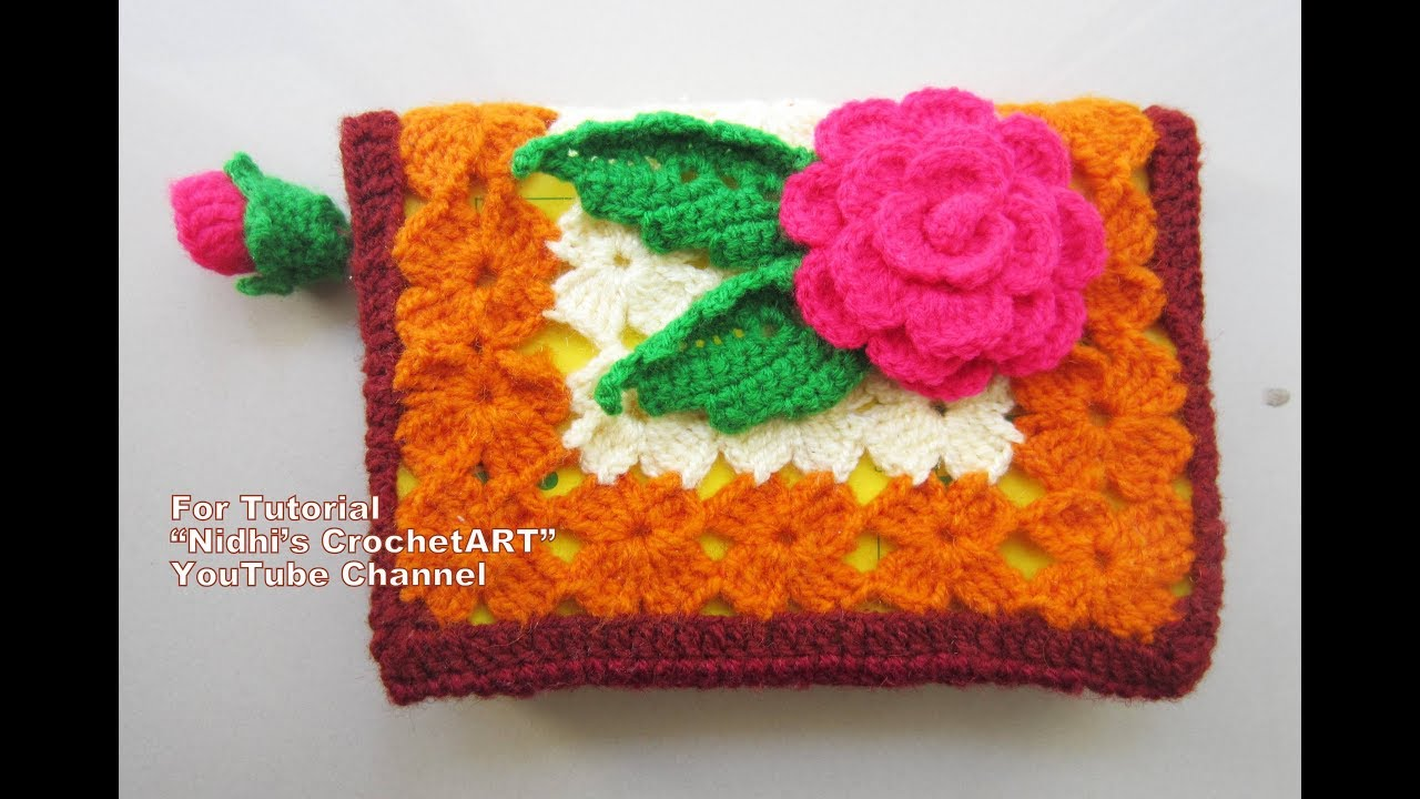 Book Cover Crochet Hook ~ How to crochet book cover with rose book mark video tutorial youtube