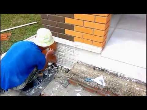 Отделка дома декоративным камнем штампованным бетоном|Finishing Of Decorative Stone
