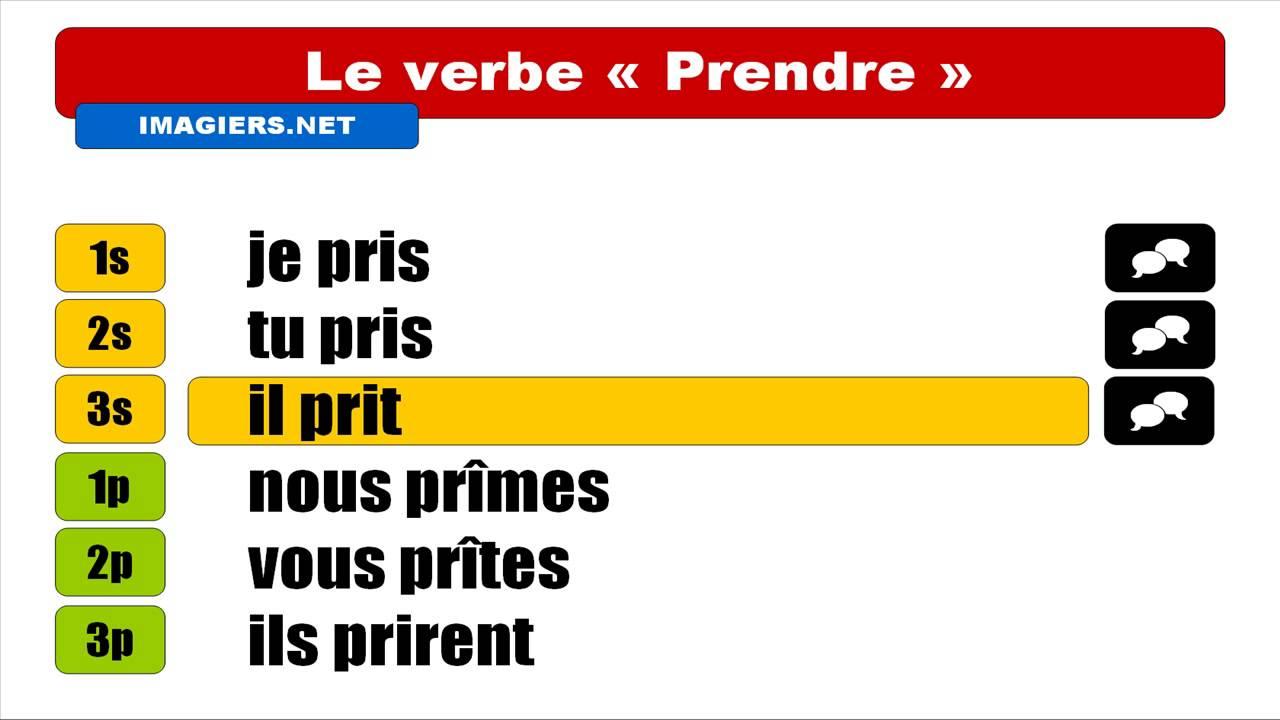 Francais Langue Etrangere Conjugaison Prendre Indicatif Passe Simple Youtube