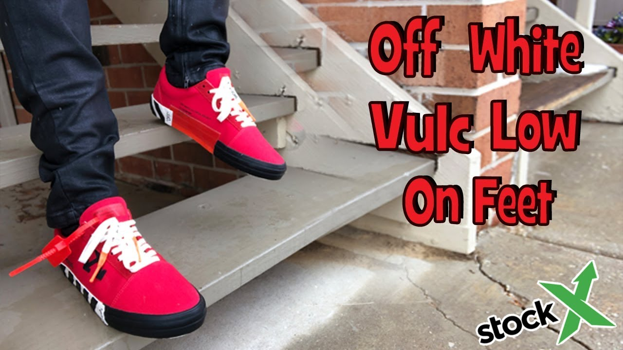 Off White Vulc Low Red On Feet - YouTube