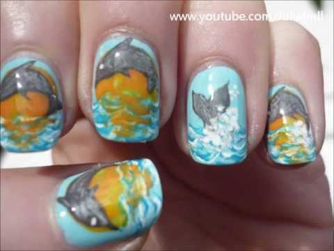 Jumping Dolphin Nail Art Animal Tutorial - Jumping Dolphin Nail Art Animal Tutorial - YouTube
