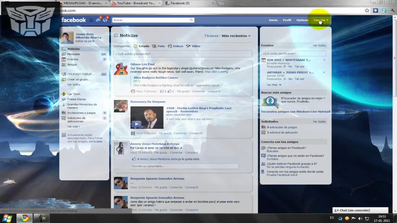Fondo de google chrome facebook