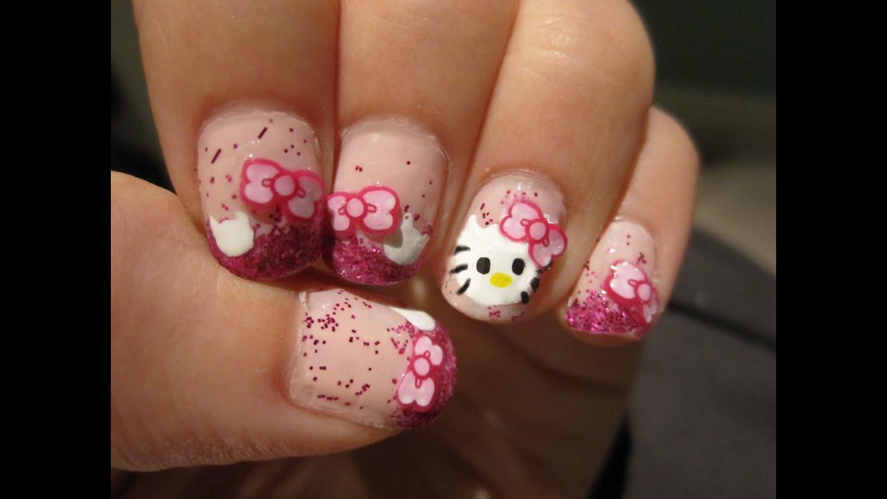 kitty nails - diy nail decals