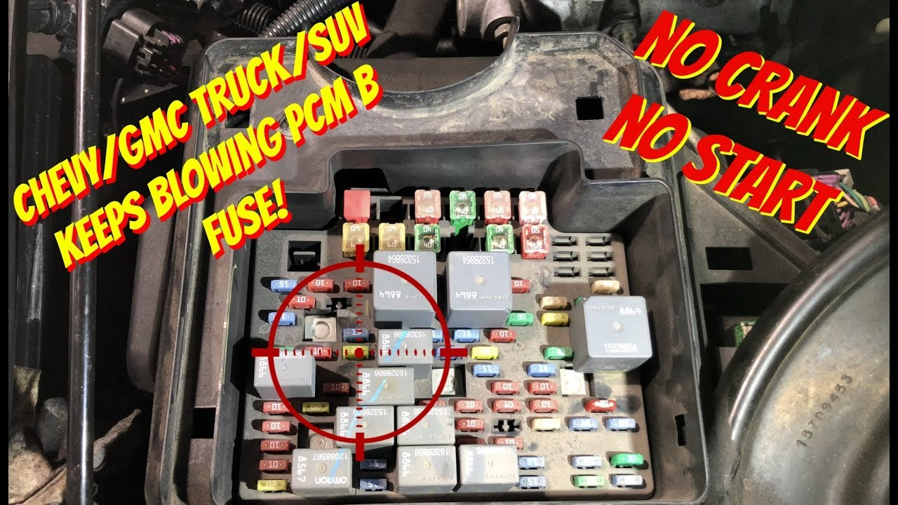 fuse for 1995 chevy box van chevy gmc  truck or suv  no crank no start   pcm b fuse keeps  no crank no start   pcm b fuse keeps