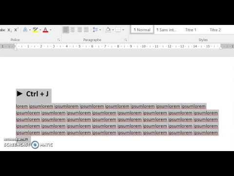 Justifier du texte sous Word - Raccourci clavier