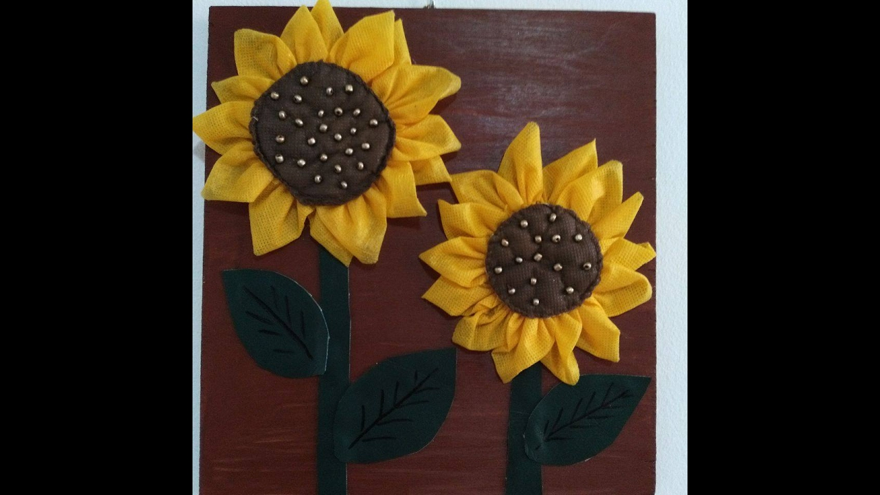 DIY Home Decor   How To Make Fabric Sunflowers For Wall Decor + Tutorial .    YouTube