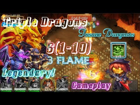 Triple Dragons & Regenerate Pd 3Flame Insane Dungeon 6(1-10) Gameplay - Castle Clash