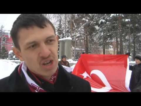Tataristan'da Türk bayraklı protesto