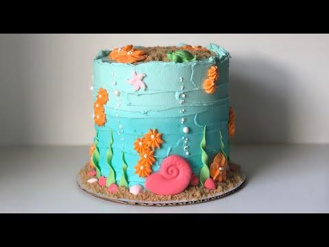 Under The Sea Cake Tutorial   BEGINNER'S CAKE DECORATING