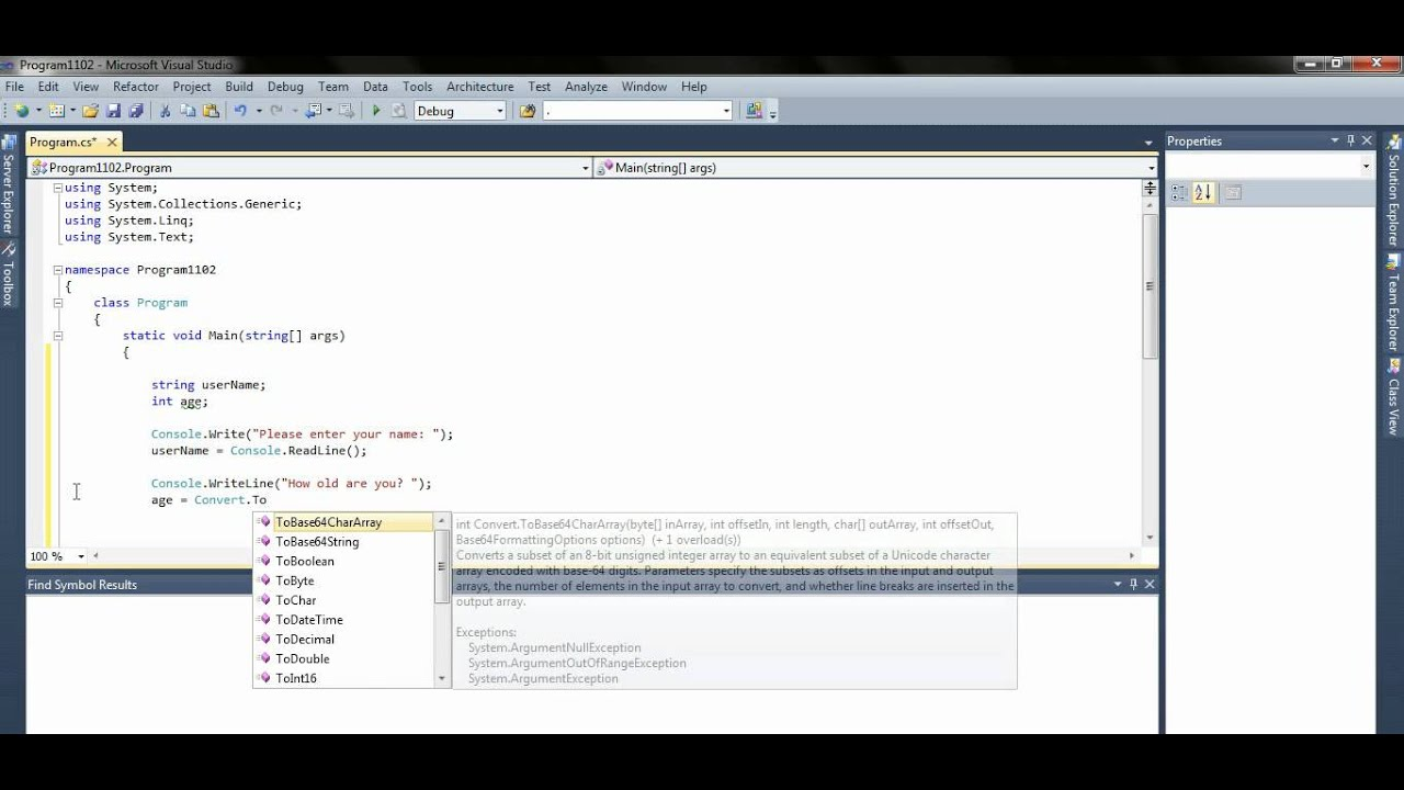 C# Console Application readline method - YouTube