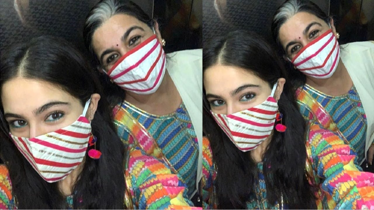 Sara Ali Khan Cutest Moment Wearing Mask With Mom Amrita Singh