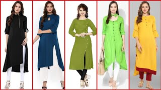 Stylish And Trendy Plain Designer Long Kurta/Kurti Design With Superb Detailing/Latest Fashion Trend