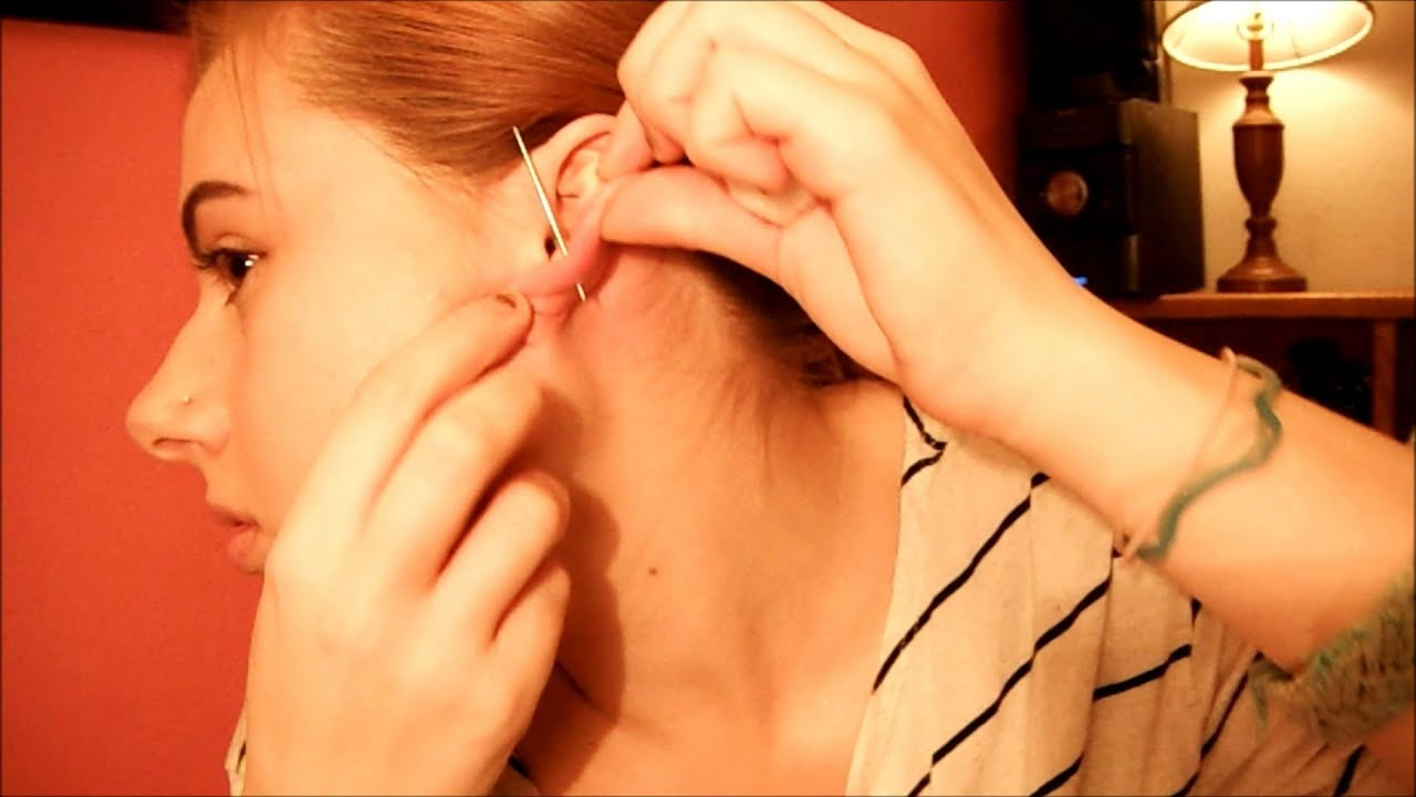 How To Pierce Your Ears At Home Youtube