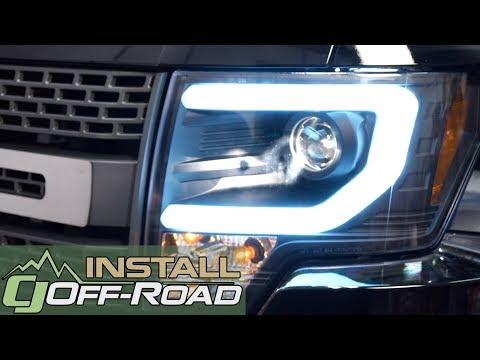 F-150 Raptor Headlight With Daytime Running Light Bar Black Pair Halogen 2010-2014 Installation