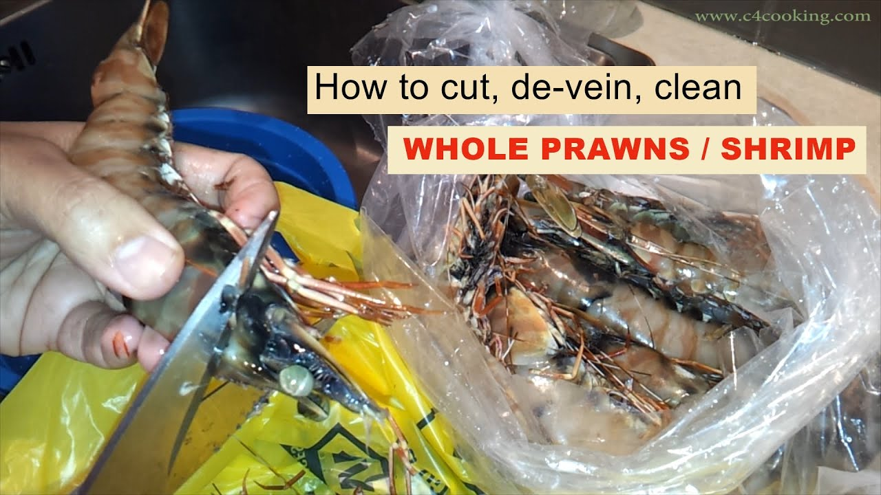 how to clean whole prawns shrimp cut shell de vein clean easy method youtube. Black Bedroom Furniture Sets. Home Design Ideas