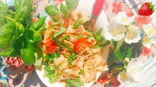 Необычный вкусный салатик с тунцом и макаронами