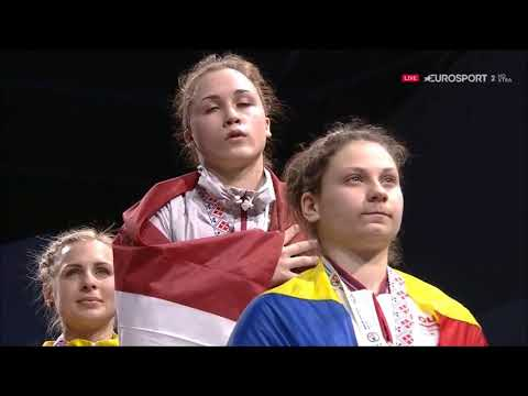 58 kg - Interview & Medal Ceremony - 2018 European Weightlifting Championships