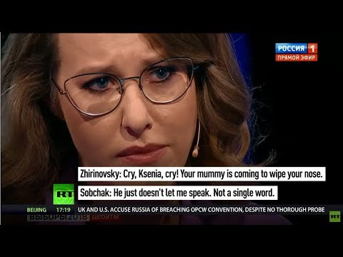 Slanging match: Russian presidential hopeful bursts into tears on live debate
