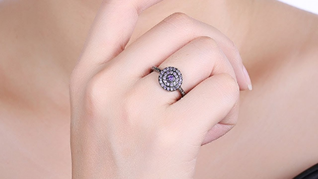 Vintage Secret Black Ring Colorful Cubic Zirconia Spiral Halo ...