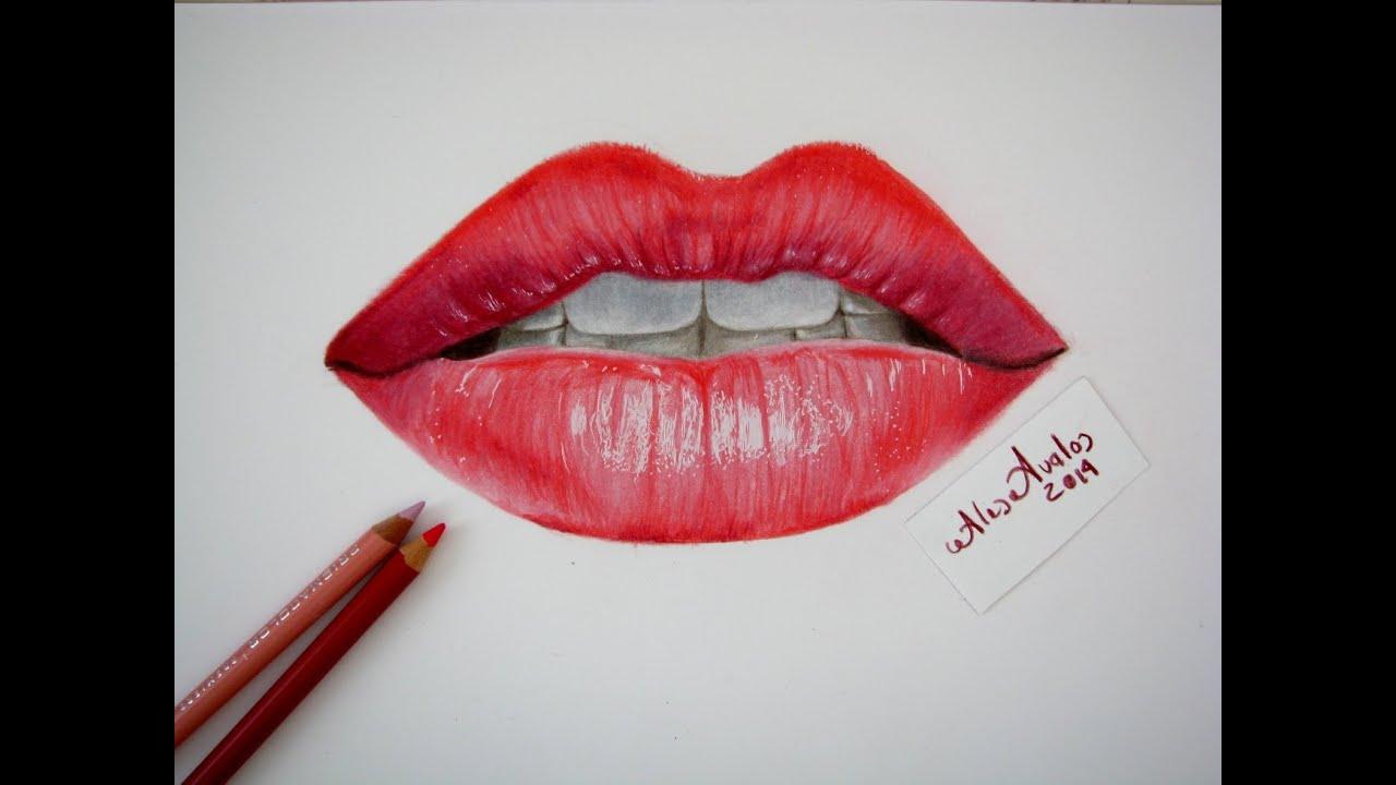 Tutorial Cmo dibujar labios boca con lpices de colores