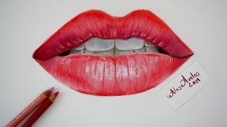 Tutorial: Cómo dibujar labios, boca con lápices de colores / Labios realistas