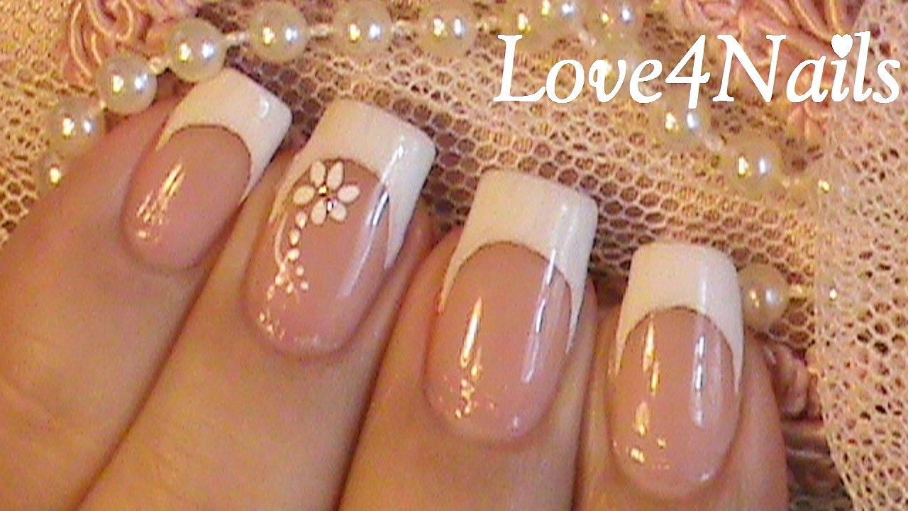 Classic White French Manicure - YouTube