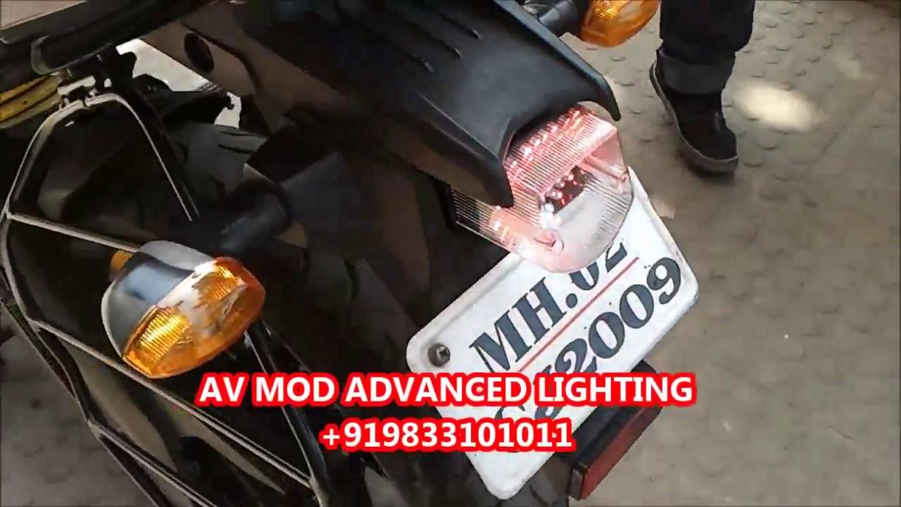 Yamaha fz s projector headlight led tail light by vishal youtube