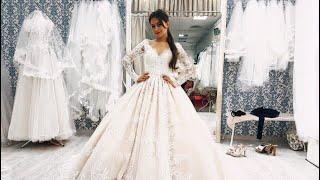 видео Свадебное платье пышное (Бальное), длинное, с кружевом, подходит беременным, с рукавами «ALESANDRA»