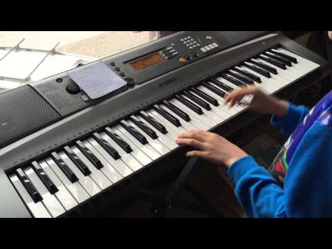 Amazing 8 year old boy playing his keyboard.