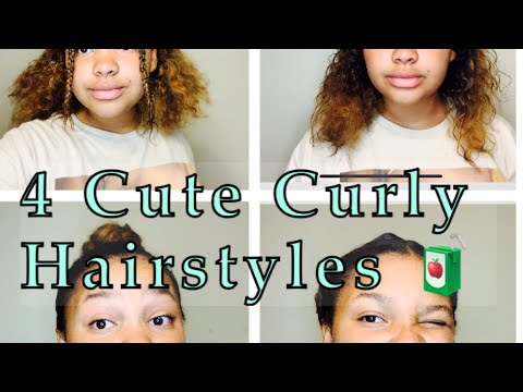 4 Fast Cute Curly Hairstyles👌💖👩🏽‍🦱