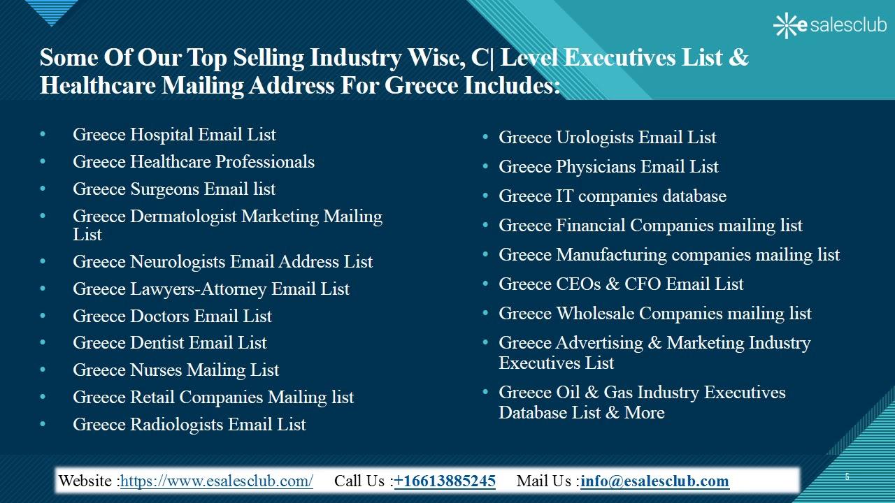 Greece Business Email List | Greece Business Mailing List | Greece Business  Database