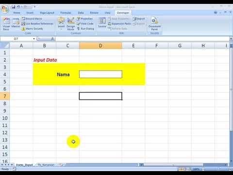 Input Data Sederhana Menggunakan Excel Macro Vba Youtube