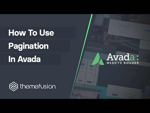 How To Use Pagination In Avada Video
