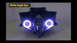 suzuki gsxr 600 750 headlight projector hid head light 55 watt hid w demon angel eyes 08 10