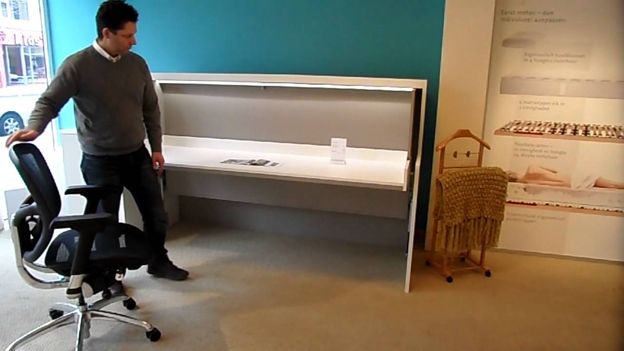 Logeerbed bureau en bed flat youtube