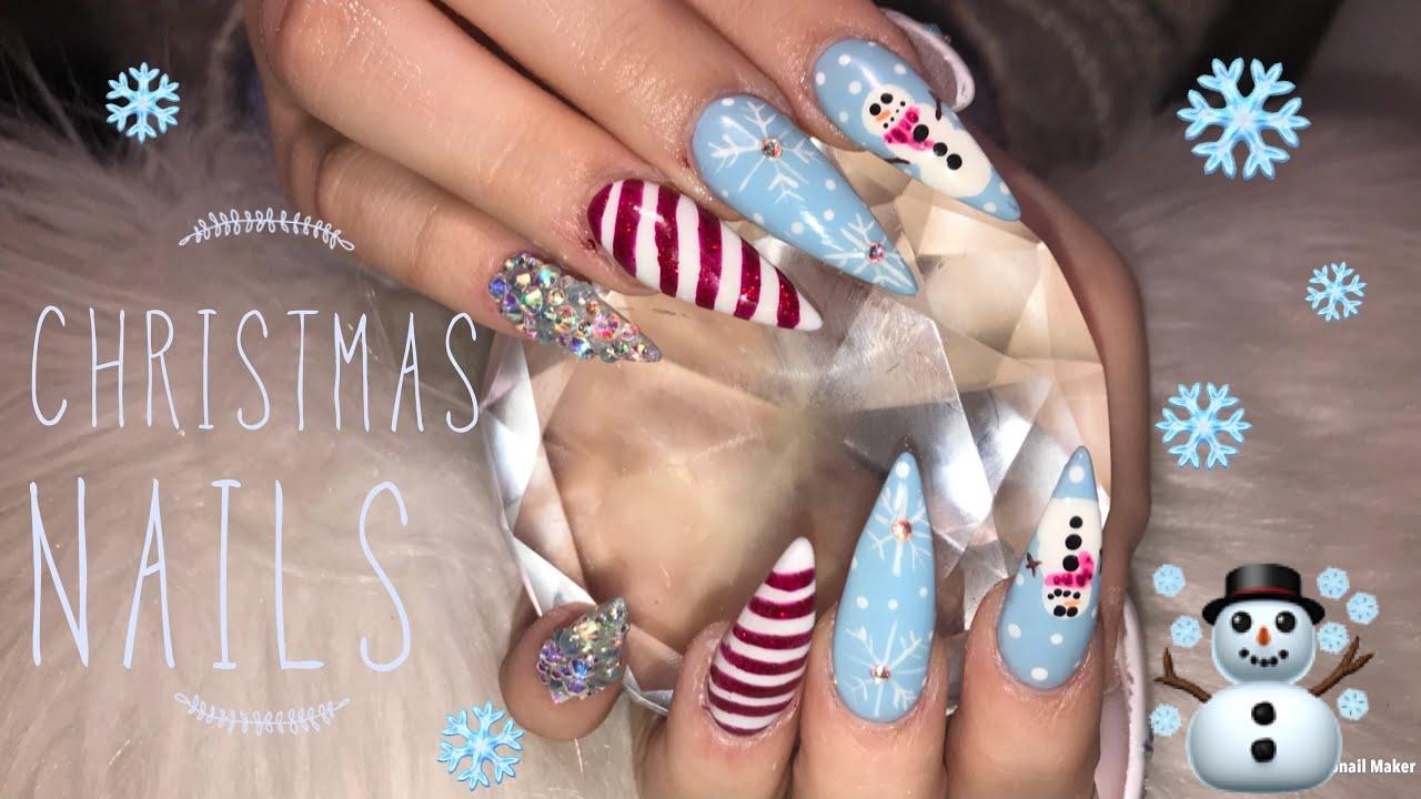 Christmas Stiletto Nails.Christmas Nails Acrylic Stiletto Nails
