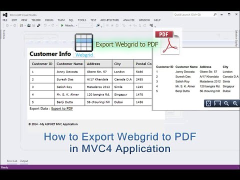How To Export Webgrid To PDF In Asp.net MVC4 Application