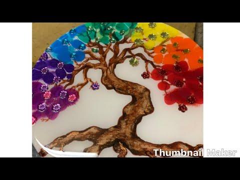 Resin art tree / collaboration chakra -theme