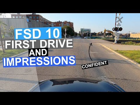 FSD Beta v10.0 First Drive & Impressions   Dog, Stops, Peds Xing   2021.24.15 FSD Beta 10