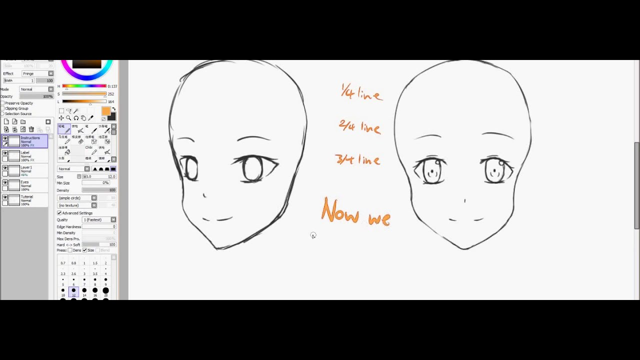 How To Draw Basic Anime Faces Beginners Paint Tool Sai